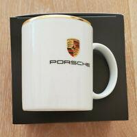 Porsche Wappen Tasse klein, Porzellan, 250 ml, Goldrand, Made in Germany, NEU