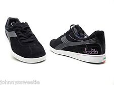 Diadora Womens Donna Bellesimo Sneakers Black Gunmetal Suede Shoe Creeper Style