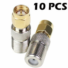 10pc F Type Female Jack To Sma Male Plug Straight Adapter Connector Converter Us