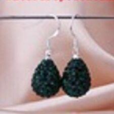 Luccicante Shamballa Scuro Verde Smeraldo Cristalli Orecchini a Goccia - 15mm x 12mm