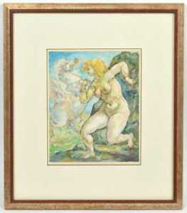 CHARLES BURDICK MYTHOLOGICAL THEME FEMALE NUDE PEGASUS WATERCOLOR WITH INK