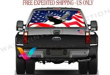 Eagle American Flag Pickup Truck Perforated Rear Windows Decal, DESIGN #2