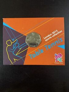 2012 50p OLYMPIC 22/29 TABLE TENNIS COIN ON CARD BRILLIANTLY UNCIRCULATED