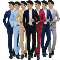 Lots M-3XL Men Fashion Wedding Groom Suit Jacket Pants One Button Slim Fit Coat