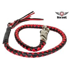 Motorcycle Get Back Whip Leather 42 Inch Long Black Red Harley Chopper Cruizer
