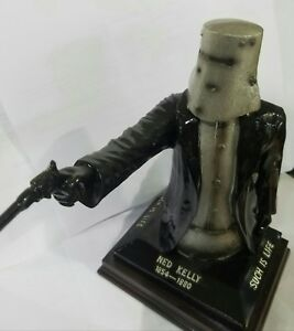 Ned Kelly Statue Bail up 25cm Tall. Black & Silver.  Free Postage