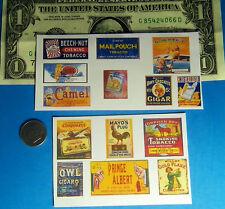 1:87 HO Scale Tobacco Cigar Store Smoke Shop CUT & PEEL STICKER  14 Stickers