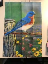 Bluebird / Bluejay on Fence Welcome Screen Printed Garden Flag
