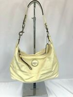 Coach Cream Signature Patent Leather Hobo Bag/Purse F17421