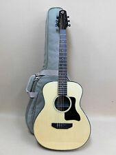 Caraya Premium Arch-Back Spruce Top Parlor Travel Guitar + HD Canvas Bag Strings
