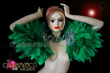 Showgirl's cabaret silver accented green feather shoulder backpack and collar