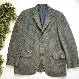 VIntage Harris Tweed Blazer Made in Scotland Wool Sport Coat Men's Size 44 XL