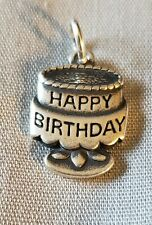 """Signed James Avery Sterling Silver Happy Birthday Cake Charm Marked """"JA 925"""""""