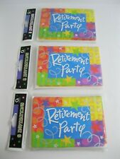 New! Lot Of 3 Packs Retirement Party Invitation Kits - Amscan 8 /Pack - 24 Total