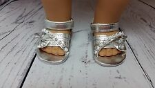 Silver Metallic Bow Sandals fit American Girl Dolls or Other 18
