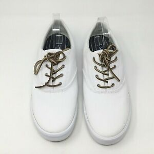 Sperry Top Sider~NWOT~Striper II~Mens Sz 13~White~Canvas~Boat Shoes~Leather Ties