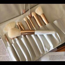 La Beaute Soi 10 Pc Makeup Brush Set Kit w White Vegan Leather Travel Case New