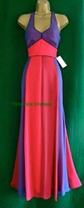 New MONSOON UK10 Purple Pink JADE MAXI Silky Halter Evening Prom Dress £160 RARE