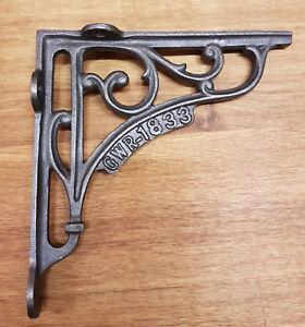 "A Pair of Cast Iron GWR 1833 Shelf Bracket 5"" x 5"" Railway / Vintage / Retro"