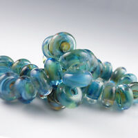 Neptune's Dream - 8 Handmade Lampwork Glass Beads, SRA Artist made Beads