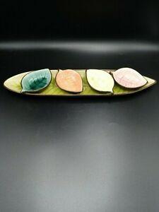 Pier One Stoneware Crackled Serving Leaf Dish with Four Leaf Mini Bowls Decor