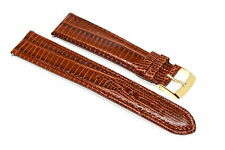 19MM BROWN STITCHED TEJU LIZARD GRAIN HIGH QUALITY LEATHER WATCH BAND STRAP