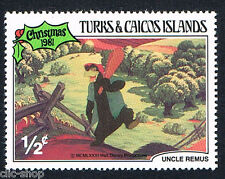 WALT DISNEY 1 FRANCOBOLLO TURKS & CAICOS ISLANDS CHRISTMAS 1/2c 1981 nuovo