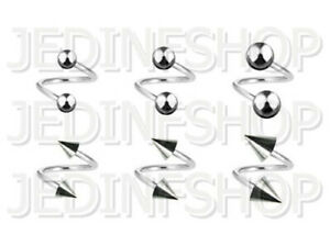 Twisted Barbell Spiral Ring   1.0mm (18g) - 6mm 8mm 10mm 12mm   Stainless Steel