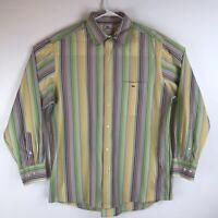 Lacoste Mens Button Front Shirt Multicolor Stripe Long Sleeve 100% Cotton XL 44