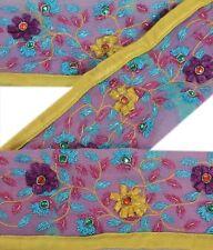 Sanskriti Vintage Sari Border 2Yd Craft Purple Trim Hand Beaded Sewing Lace
