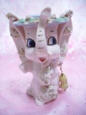 *Super Rare Vtg* Pink Elephant with Peanut Necklace Trunk Up for Good Luck Ex