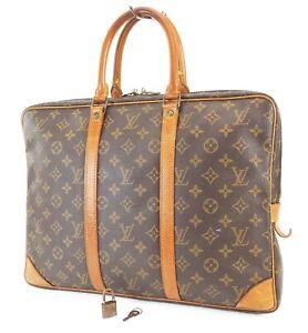 Authentic LOUIS VUITTON Porte-Documents Voyage Monogram Briefcase Bag #39340