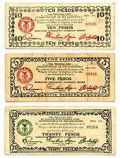 Set of 3 diff. Philippines Mindanao WW2 guerilla paper money circ. with holes