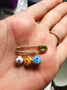 14ct Yellow Gold Evil Eye Charms Pin - Perfect Baby Christening Greek Gift Boxed