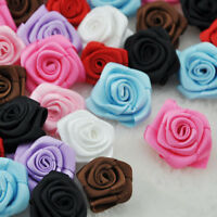 20 pcs satin ribbon rose rflowers wedding appliques crafts decoration E84