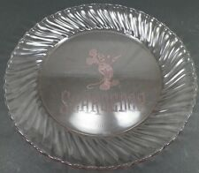 "MICKEY MOUSE ETCHED PINK ARCOROC FRANCE 9"" PLATE SCHROEDER ETCH"