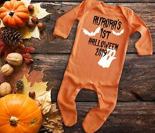 Custom baby's 1st halloween orange long sleeve baby grow rompersuit