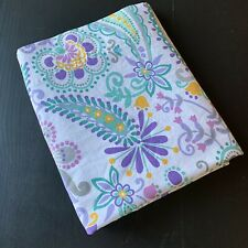 Pottery Barn Teen Flat Sheet Paisley Floral Purple Aqua Pink Twin