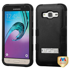 For SAMSUNG GALAXY SKY S320VL SOL J320 PHONE BLACK TUFF STAND SKIN COVER CASE