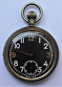 NO RESERVE WW2 GSTP Broad Arrow Military Black Face Pocket Watch Vintage Antique