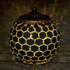 BEAUTIFUL MOROCCAN STYLE NAVY GLASS LANTERN WITH LED GEOMETRIC CANDLE LIGHTING