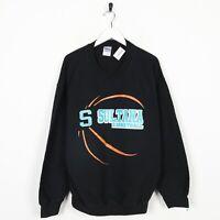 Vintage USA College Basketball Big Logo Sweatshirt Jumper Black   Large L