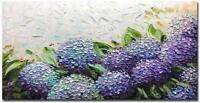 Hand Painted Abstract Hydrangea Flower Painting Wall Art Purple Floral Canvas