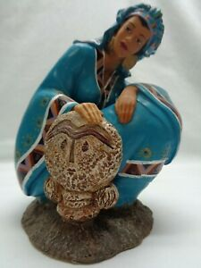 AS IS Southwest Woman Native American Potter Resin Art Figurine Statue Decor