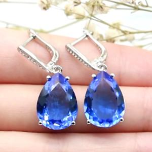 35x13mm Romantic Water Drop Rich Blue Violet Tanzanite CZ Ladies Silver Earrings