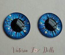 Blythe Doll Handpainted Blue Purple Gold Black Glitter Metallic Eyechips 14mm