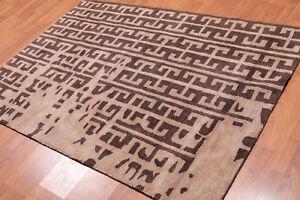 "4'7"" x 6'7"" Handmade Textured 100% Nylon Loop & Cut Area Rug AOR9834 Brown"