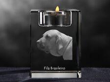 Fila Brasileiro, crystal candlestick with dog, souvenir, Crystal Animals Usa