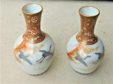 NO RESERVE Meiji Japanese Kutani Miniature Cranes Porcelain Vase Pair Antique