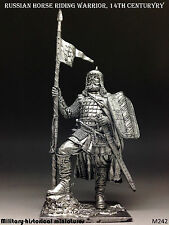Russian warrior, 14 century, Tin toy soldier 54 mm, figurine, metal sculpture